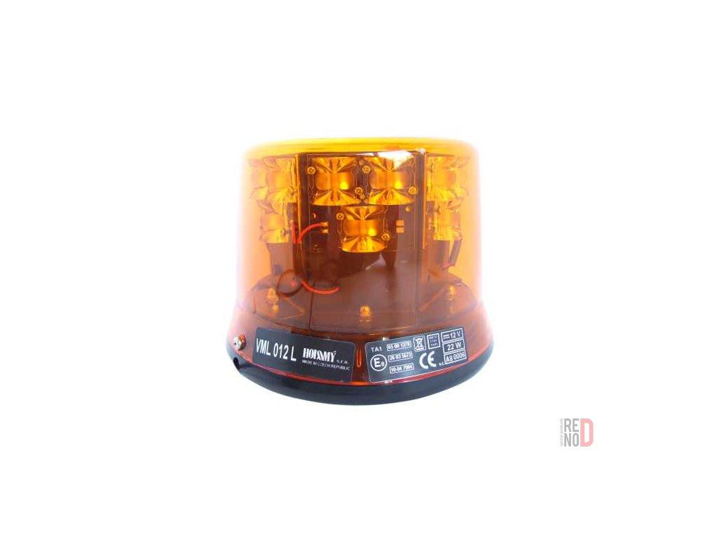 Vystrazny majak LED oranzovy 12V pevna montaz 18 diod 140 mm