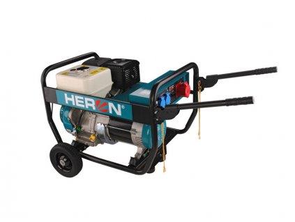 HERON Elektrocentrála benzínová Industrial, 3F, 6,8kW/5,5kW, 400V/230V, podvozok