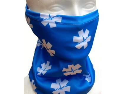 Multifunkčná šatka - nákrčník EMS Hviezda života (modrá)