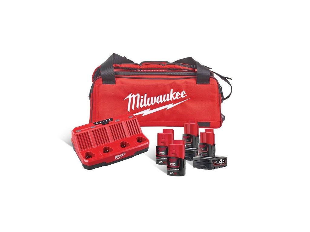 milwaukee m12 nrg 424b sada akumulatoru a nabijecky v tasce na koleckach 4933471772