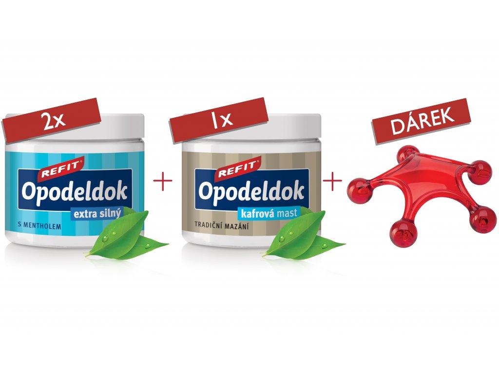 2x Refit Opodeldok Extra 200 ml & 1x Refit Opodeldok klasik 200 ml & Dárek masážní hvězdice