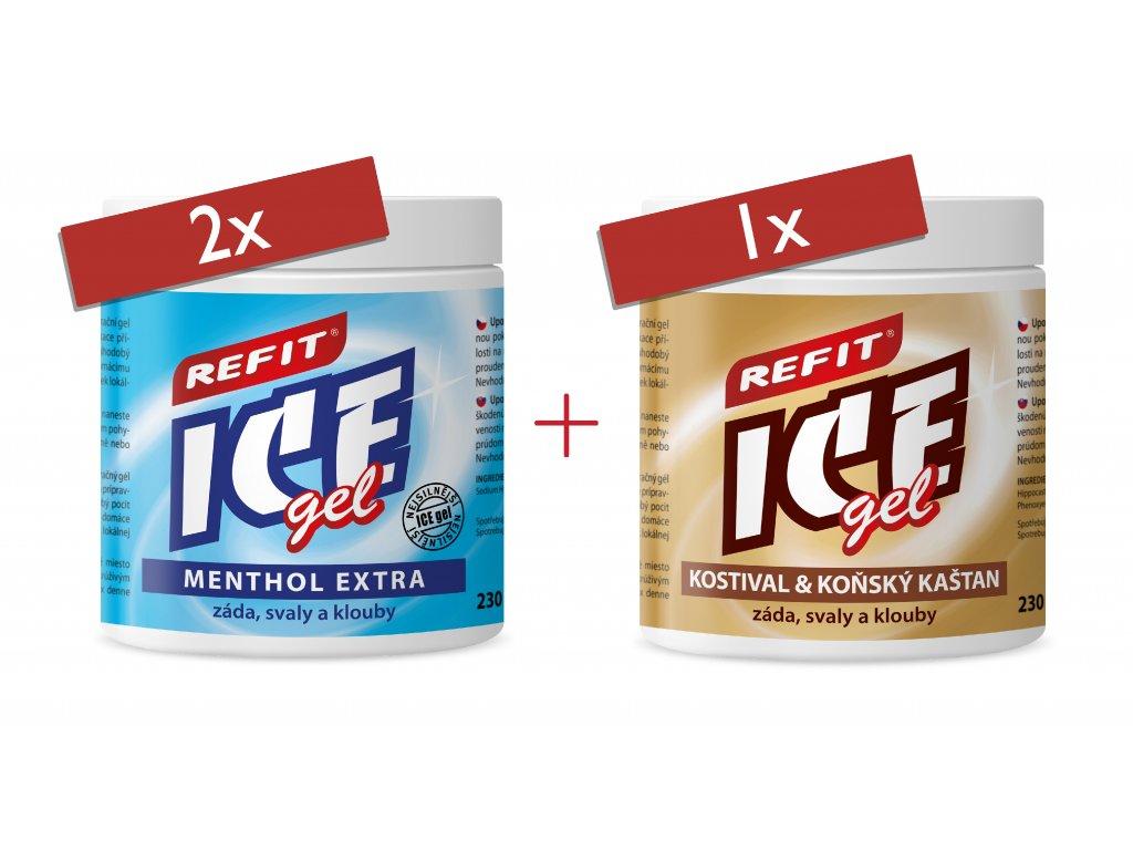 2x Refit Ice gel Menthol Extra 230 ml 1x Refit Ice gel Kostival & Koňský kaštan 230 ml
