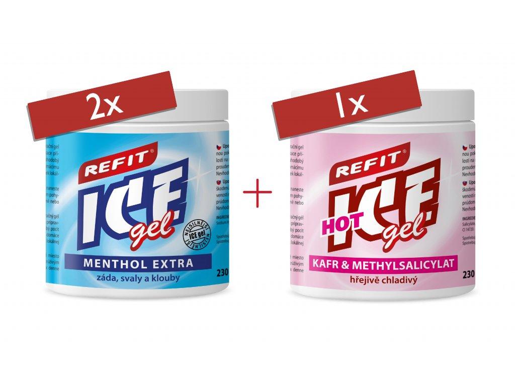 2x Refit Ice gel Menthol Extra 230 ml 1x Refit Ice & Hot 230 ml