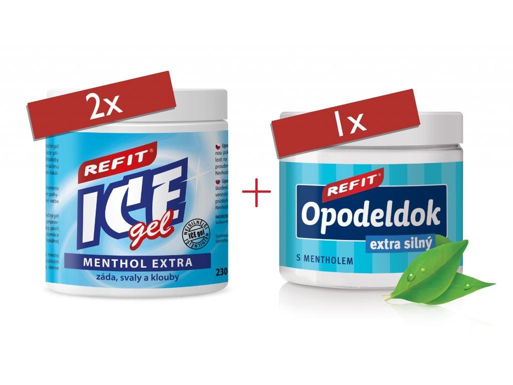 2x Refit Ice gel Menthol Extra 230 ml 1x Refit Opodeldok extra silný 200 ml