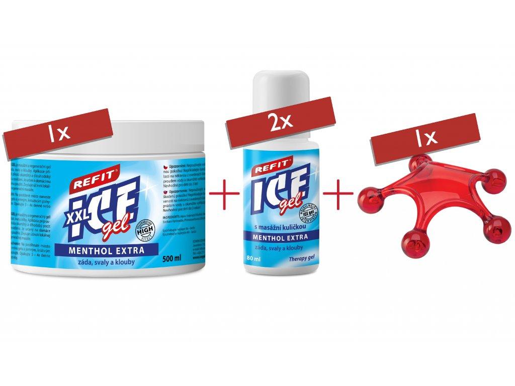 1x Refit Ice gel Menthol Extra 500 ml & 2x Refit Ice gel Menthol Extra 80 ml & masážní hvězdice