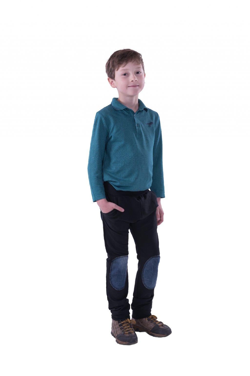 Dětské baggy kalhoty (Velikost 110/116 - výška postavy 116 cm, Barva Černá/tyrkysová)