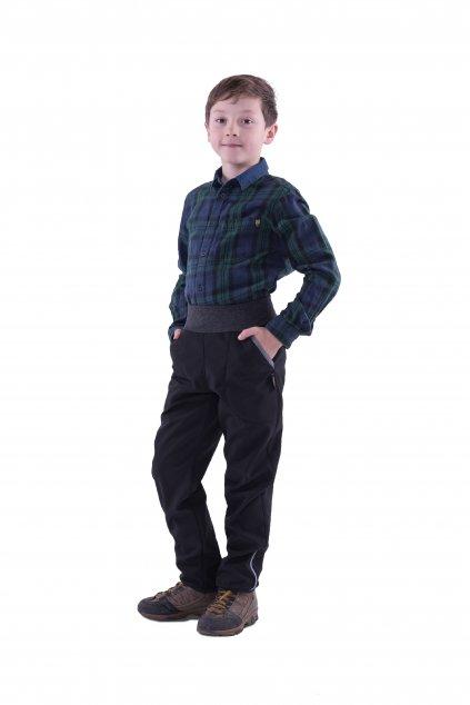 Zimní softshellové kalhoty (Velikost 110/116 - výška postavy 116 cm, Barva Černá/růžová)