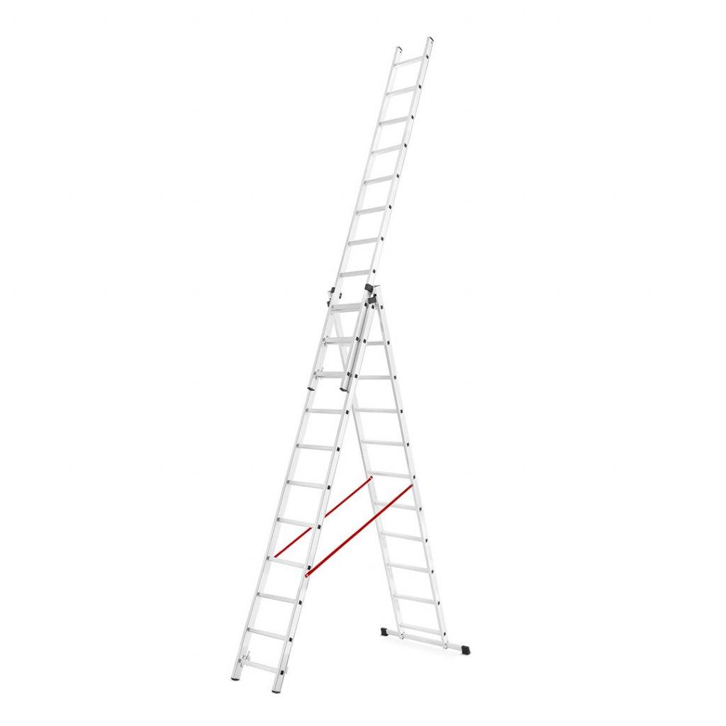 Třídílný hliníkový žebřík 3x11 výška 7,2 m 1