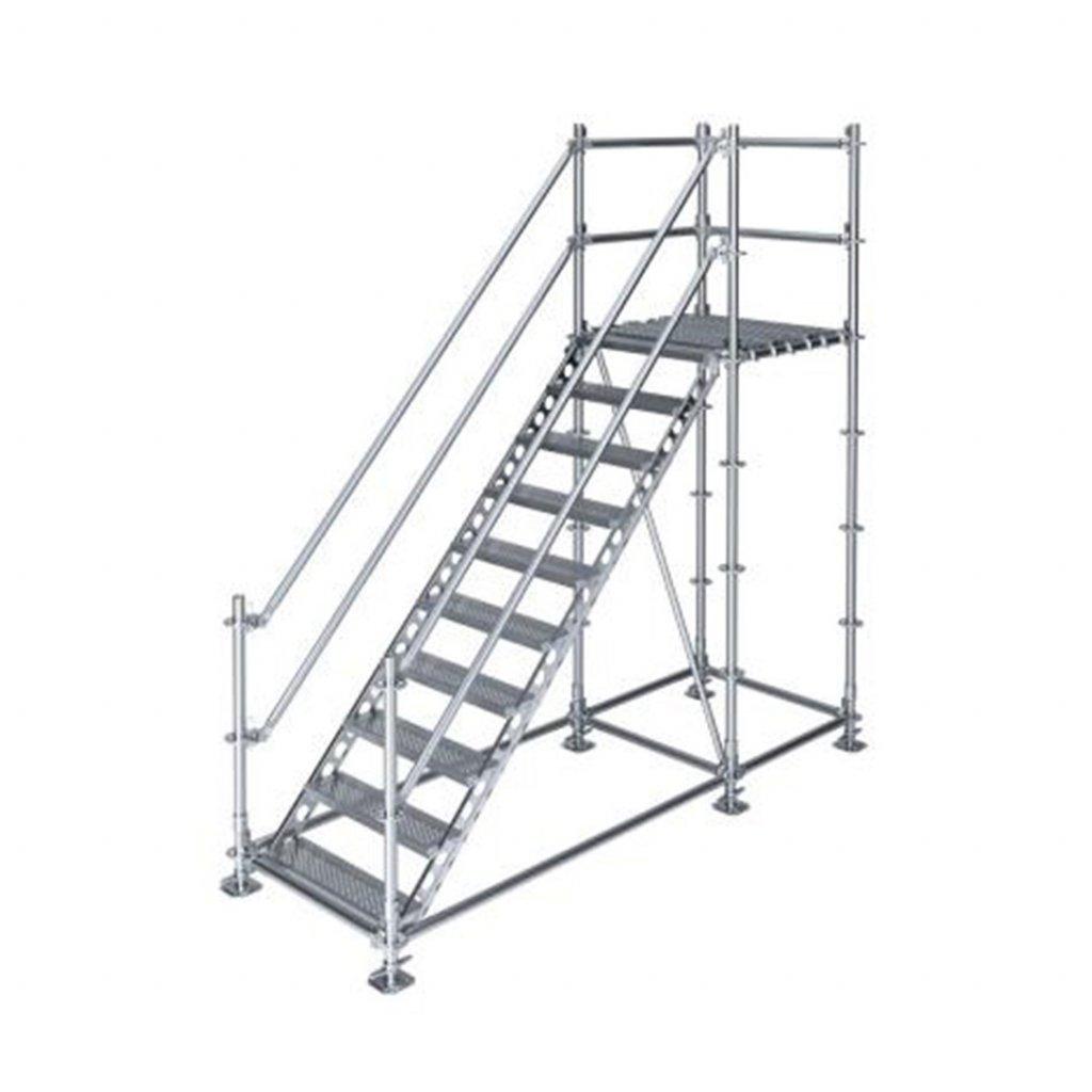 Samonosné venkovní schodiště s podestou - výška 2 m