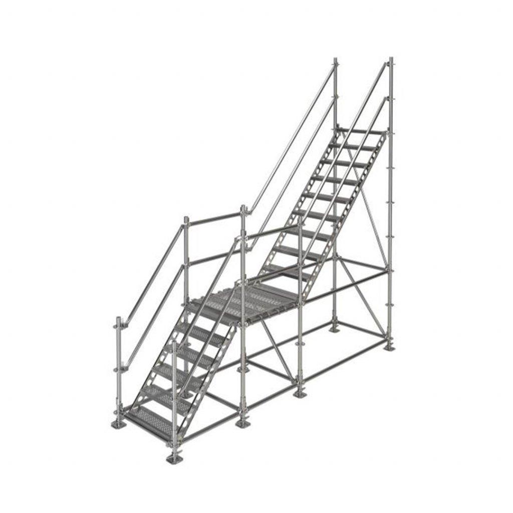 Samonosné venkovní schodiště s podestou - výška 3 m