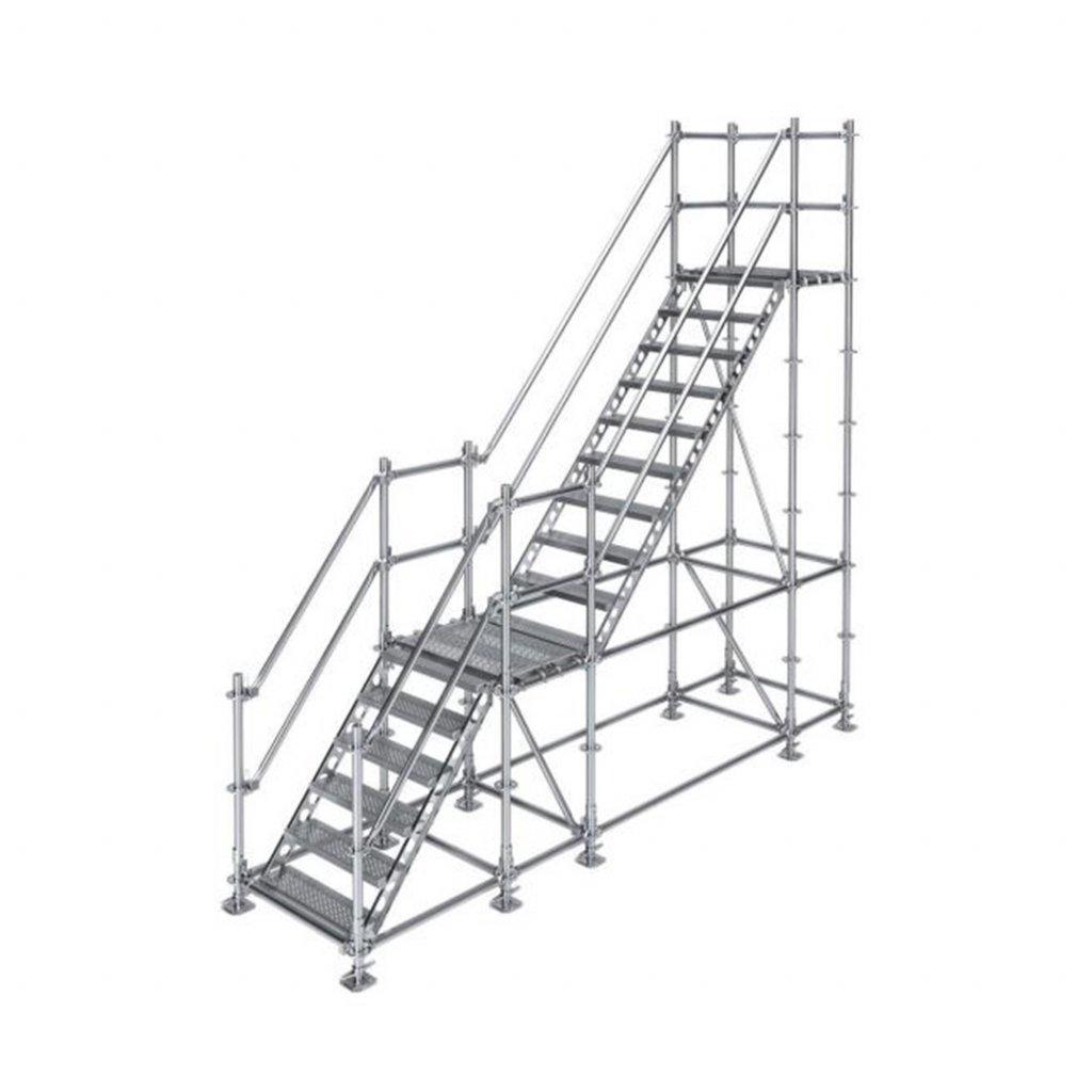 Samonosné venkovní schodiště s 2 podestami - výška 3 m