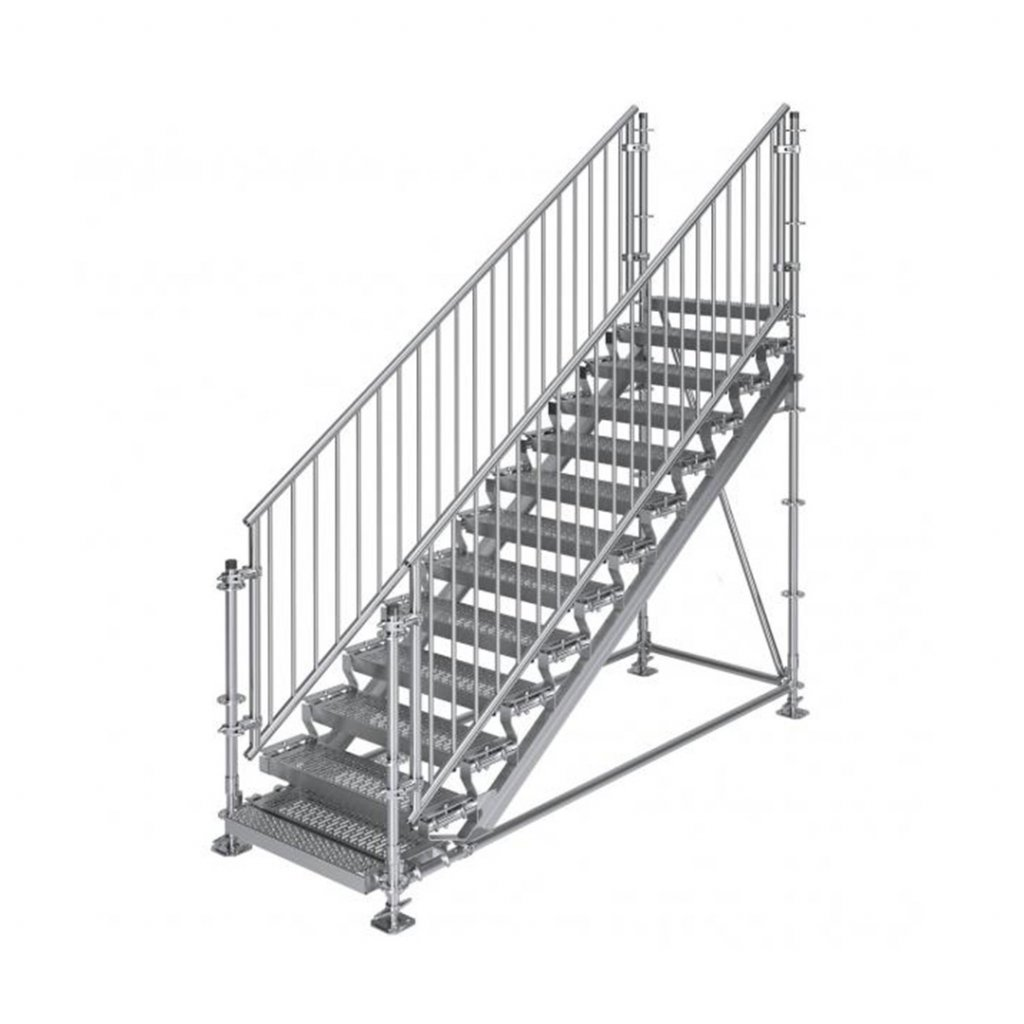 Samonosné venkovní schodiště RUX Premium - rozměry 2 x 3 x 1 m