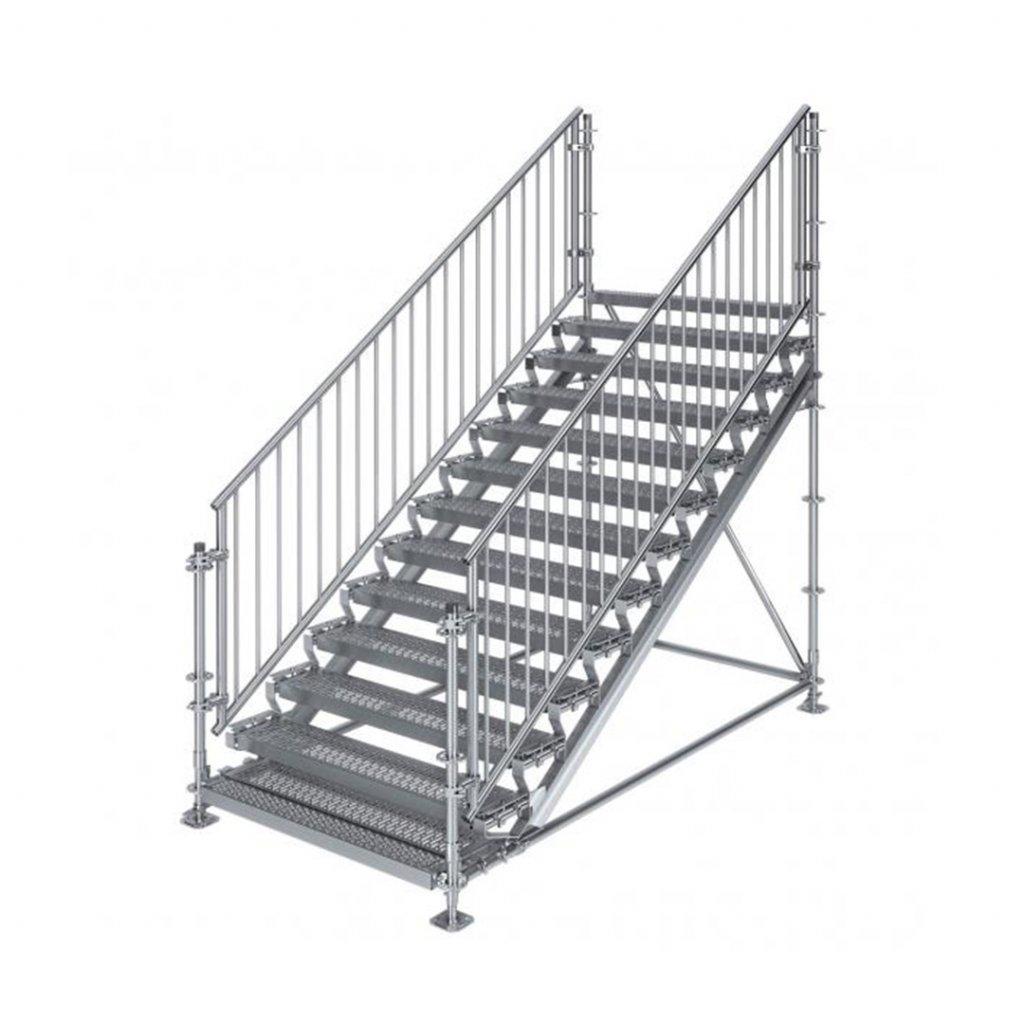Samonosné venkovní schodiště RUX Premium - rozměry 2 x 3 x 1,5 m