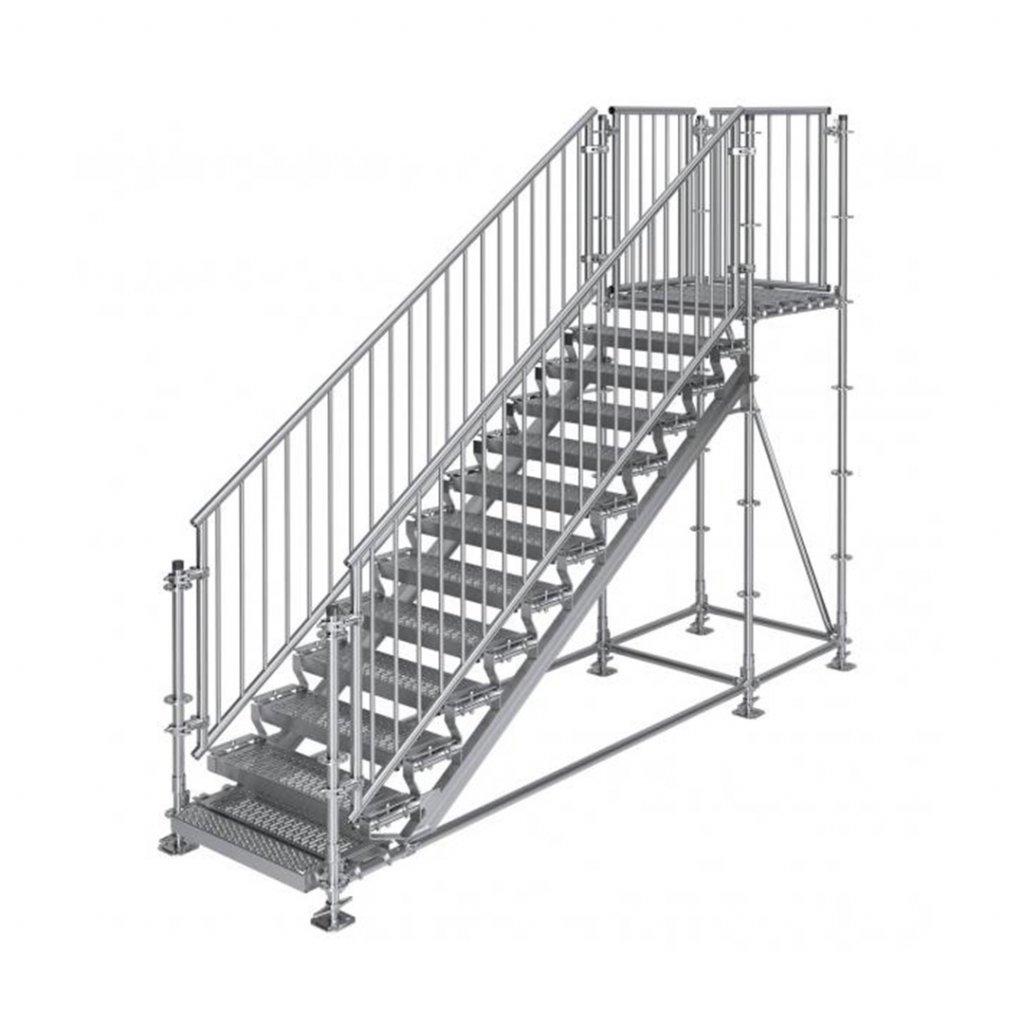 Samonosné venkovní schodiště RUX Premium s podestou - rozměry 2 x 4 x 1 m