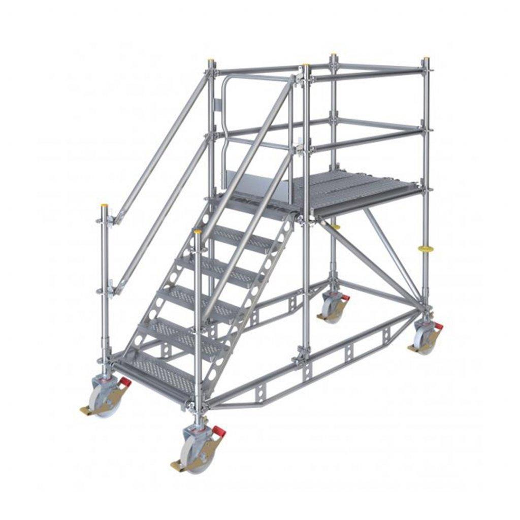 Pojízdné stavební schodiště RUX Ringscaff s bránou - výška 1 m