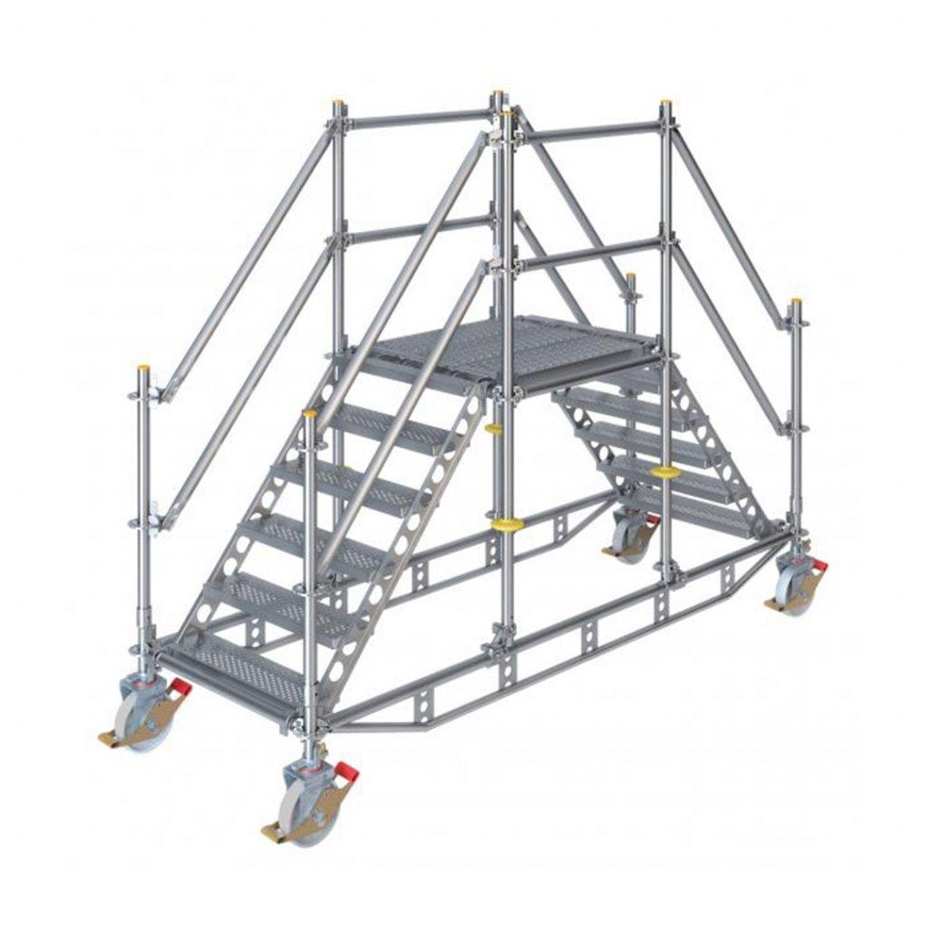 Dvojité pojízdné stavební schodiště RUX Ringscaff - výška 1 m