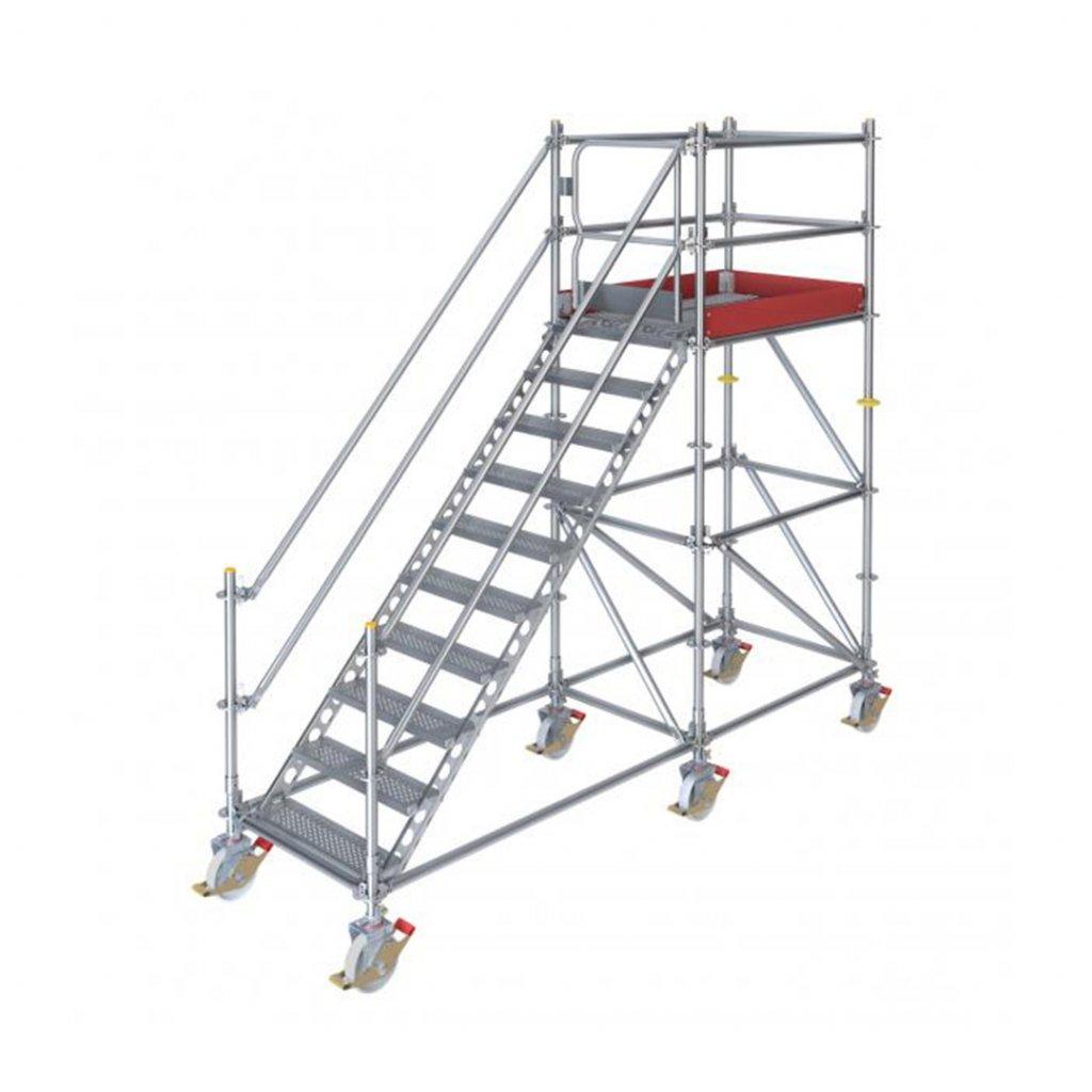 Pojízdné stavební schodiště RUX Ringscaff s bránou - výška 2 m