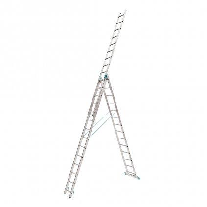 Třídílný hliníkový žebřík 3x14 výška 10,9 m 18