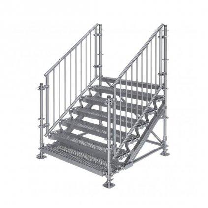 Samonosné venkovní schodiště RUX Premium - rozměry 1 x 1,5 x 1,5 m