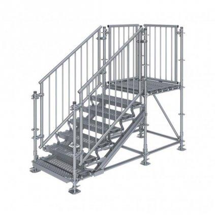 Samonosné venkovní schodiště RUX Premium s podestou - rozměry 1 x 2,5 x 1 m