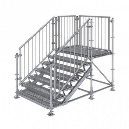 Samonosné venkovní schodiště RUX Premium s podestou - rozměry 1 x 2,5 x 1,5 m