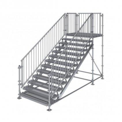 Samonosné venkovní schodiště RUX Premium s podestou - rozměry 2 x 4 x 1,5 m