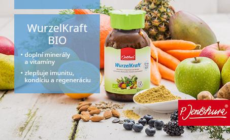 WurzelKraft. Super potravina s kvetovým peľom, ovocím, bylinami a zeleninou. K doplneniu minerálnych látok, vitamínov a neutralizáciu kyselín. Bez prídavku cukru, bezlepkový a bez laktózy.