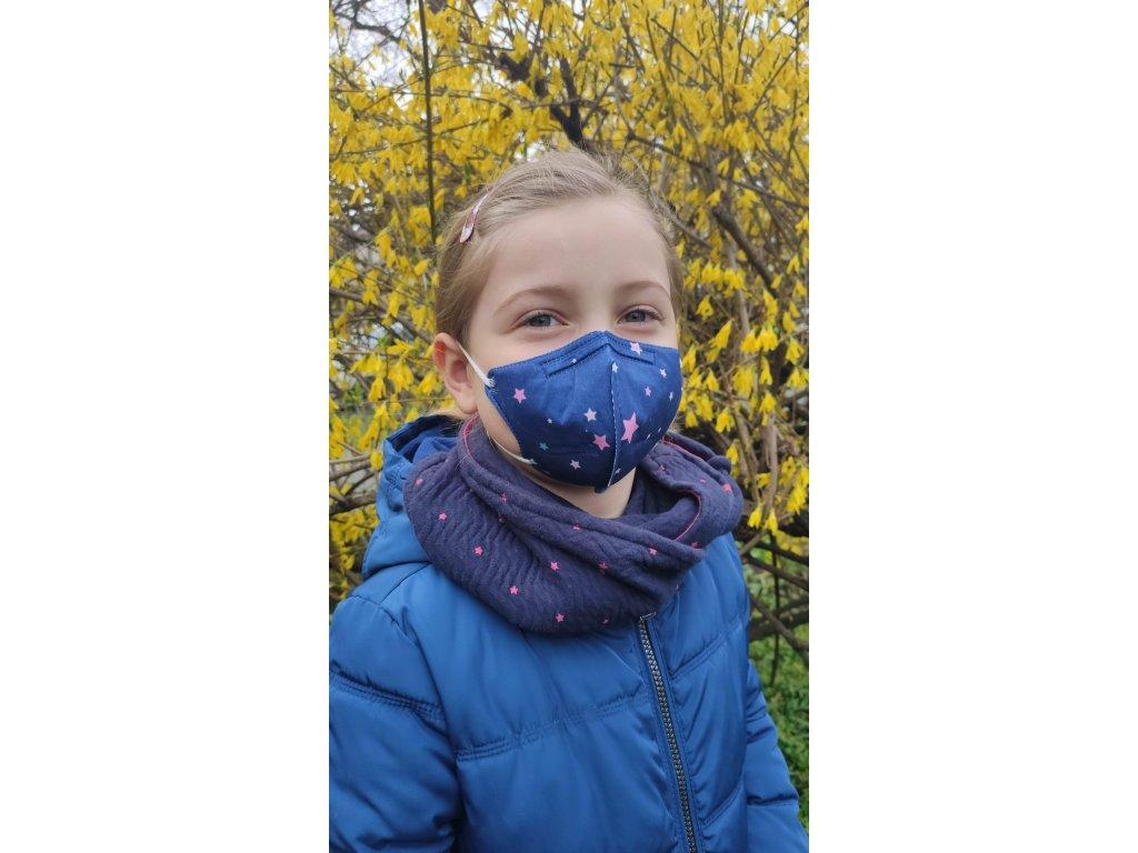 Balerina detský farebný respirátor FFP2 veľ. S - hviezdičky 4 kusy