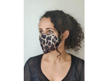 Balerina farebný respirátor FFP2 leopardí vzor 5 kusov