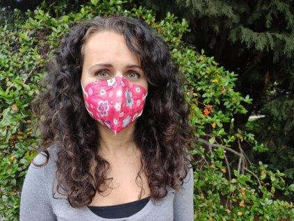 Balerina farebný respirátor FFP2 červený vzor 5 kusov