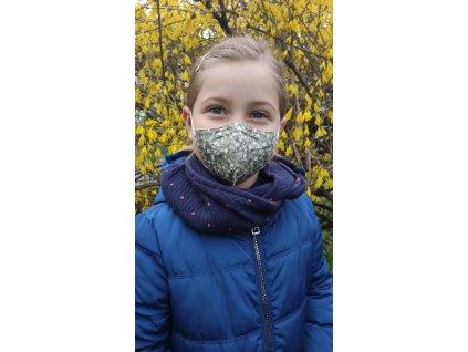 Balerina detský farebný respirátor FFP2 veľ. S - májový vzor 4 kusy