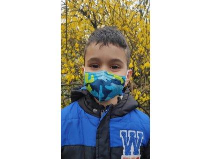 Balerina detský farebný respirátor FFP2 veľ. S - modrý maskáč 4 kusy