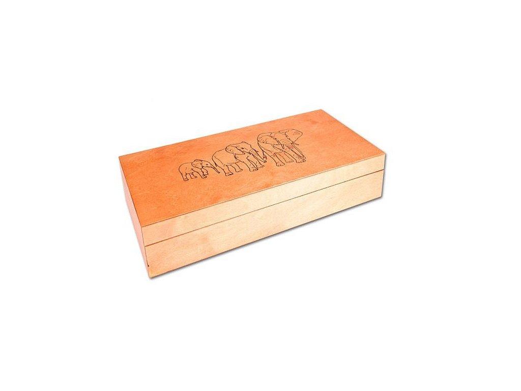 """Dřevěná krabice """"Sloni"""" prázdná 10x10"""