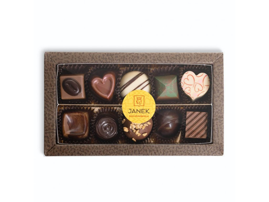 296 2 krabicka 10 ks cokoladovych pralinek v obale cokoladovna janek jpg