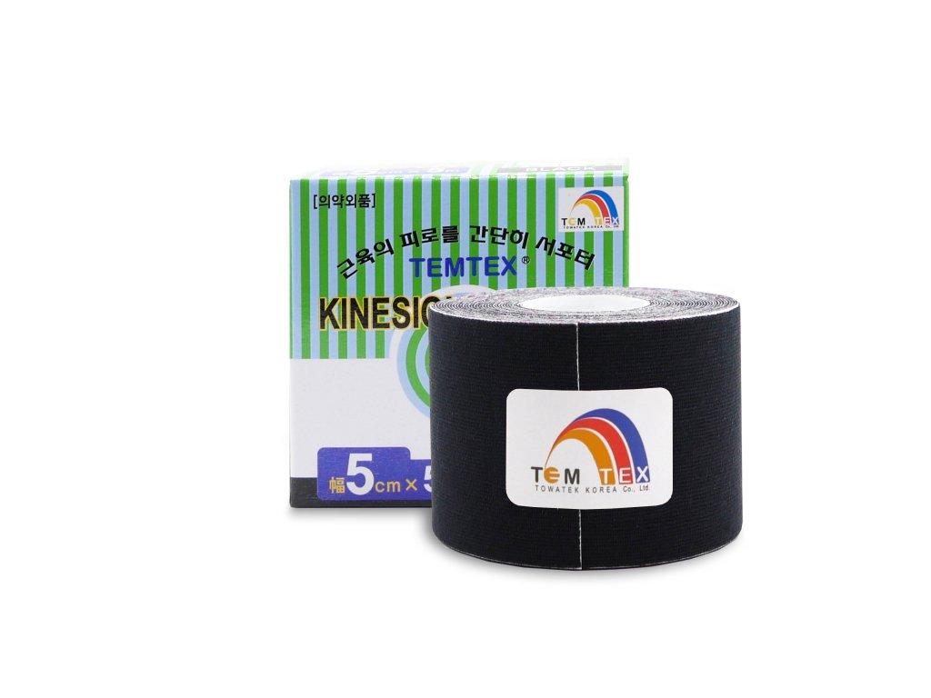 Temtex kinesio tape Classic, čierna tejpovacia páska 5cm x 5m