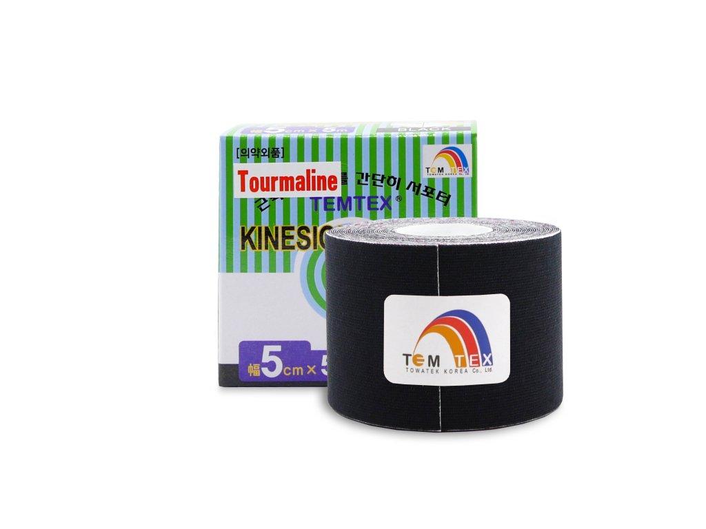 Temtex kinesio tape Tourmaline, čierna tejpovacia páska 5cm x 5m