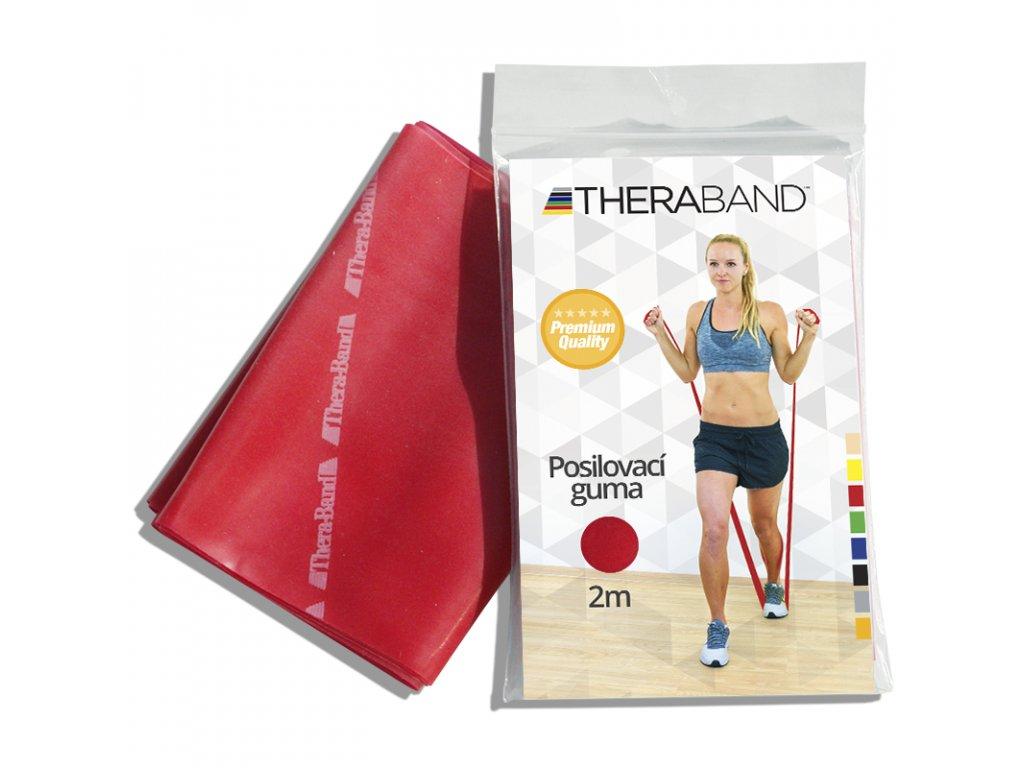 Posilovací guma Thera Band, 2m, červená středně silná 12763