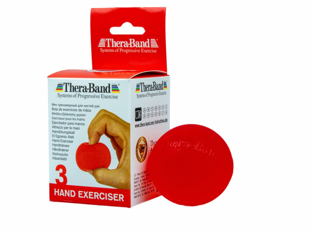 Thera-Band Hand Exerciser - posilňovač ruky - gélová gulička, červená - mäkká