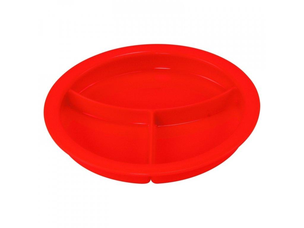 Delený tanier s priehradkami, ADL 62 - červená farba