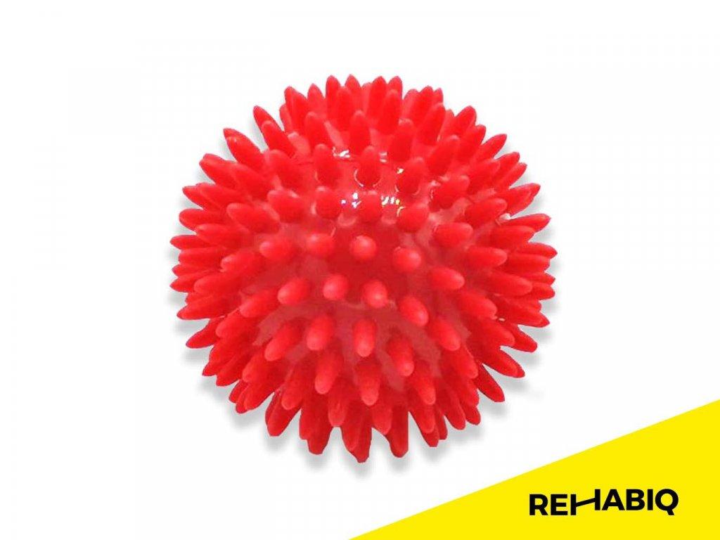Rehabiq Masážna loptička ježko, červená 8 cm