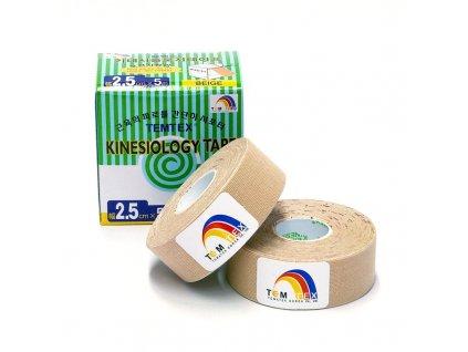 Temtex kinesio tape Classic, béžová tejpovacia páska 2 x 2,5cm x 5m