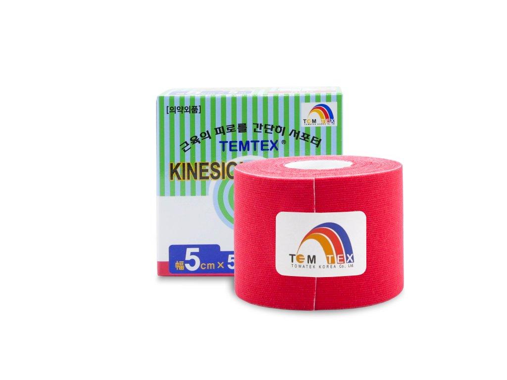 Temtex kinesio tape Classic, červená tejpovací páska 5cm x 5m