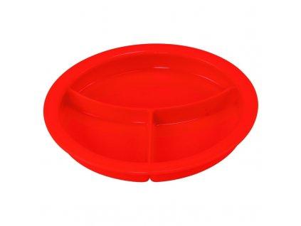Dělený talíř s přihrádkami, červený
