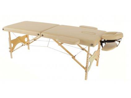 Skládací dřevěné lehátko ETF50 - béžové  + Dárek dle vašeho výběru
