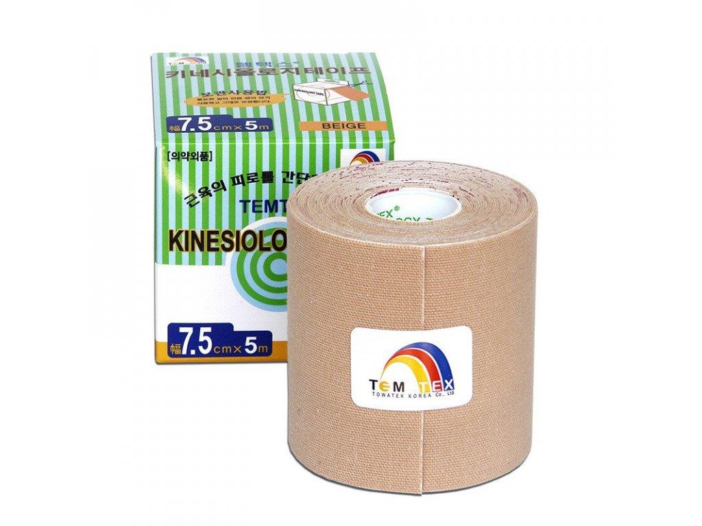 Temtex kinesio tape Classic, béžová tejpovací páska 7,5 cm x 5 m