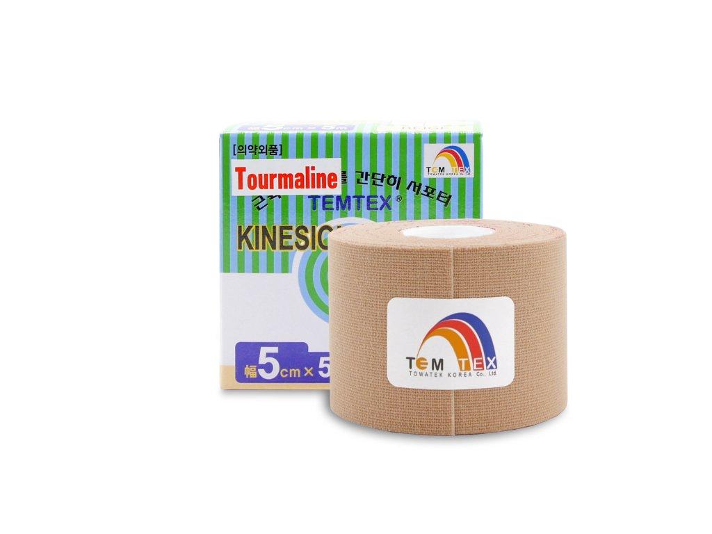 TEMTEX kinesio tape Tourmaline, béžová tejpovací páska 5 cm x 5 m