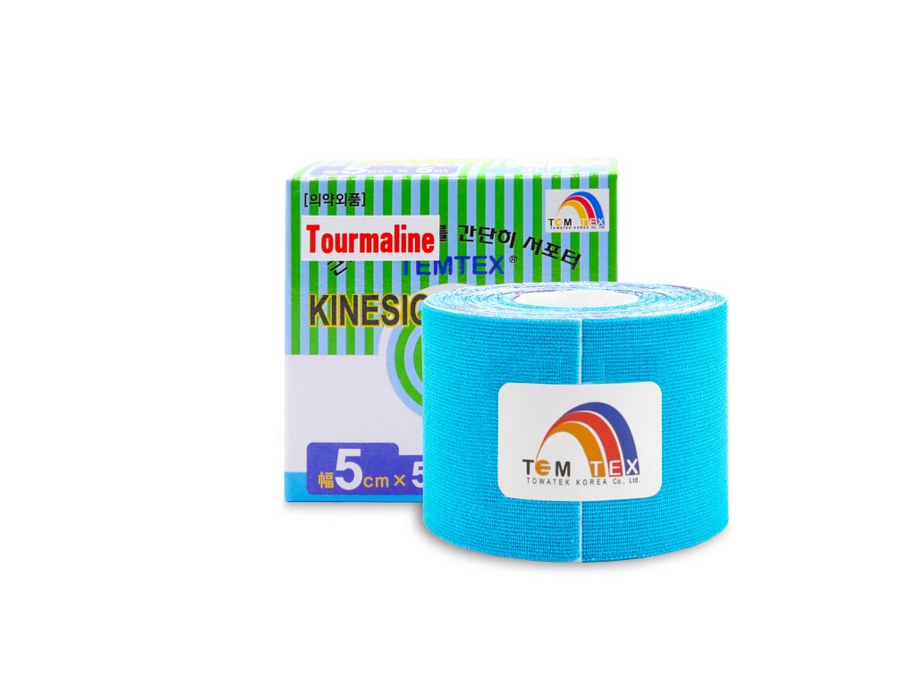 TEMTEX kinesio tape Tourmaline, modrá tejpovací páska 5 cm x 5 m