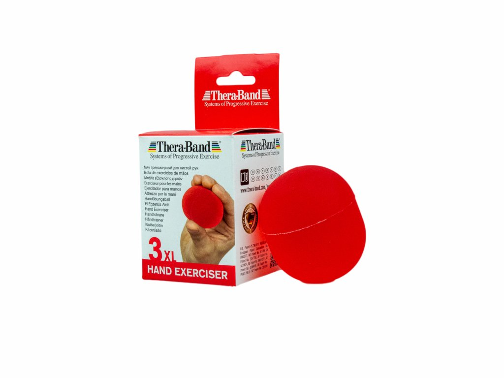 Thera-Band Hand Exerciser XL - posilovač rukou gelové vajíčko, červené - měkké