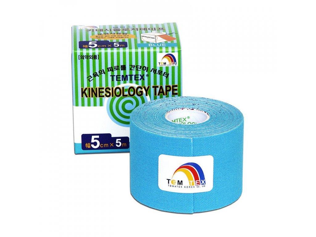 TEMTEX kinesio tape Classic, modrá tejpovací páska 5 cm x 5 m
