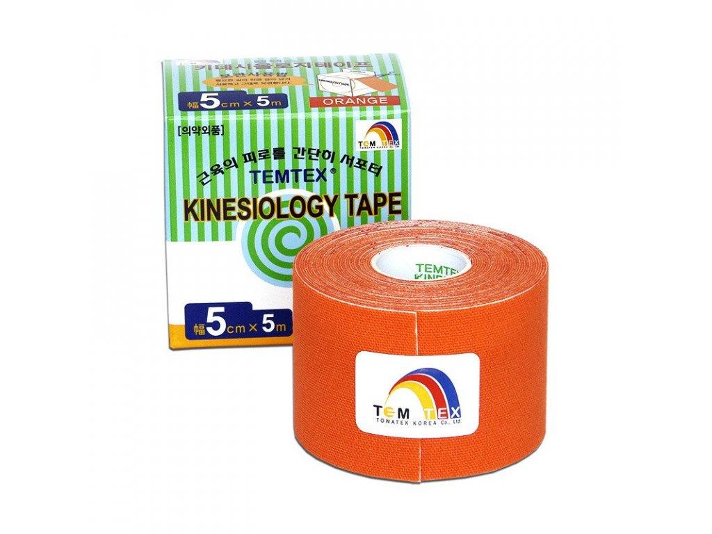 TEMTEX kinesio tape Classic, oranžová tejpovací páska 5 cm x 5 m